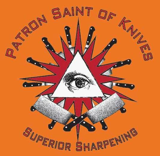 Patron Saint of Knives Saint of Knives sharpening logo